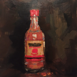 A bottle of hot sauce