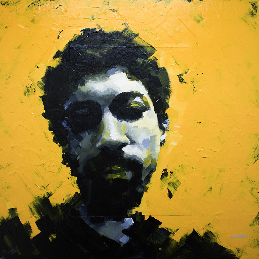 portrait of a young man on bright yellow textured background