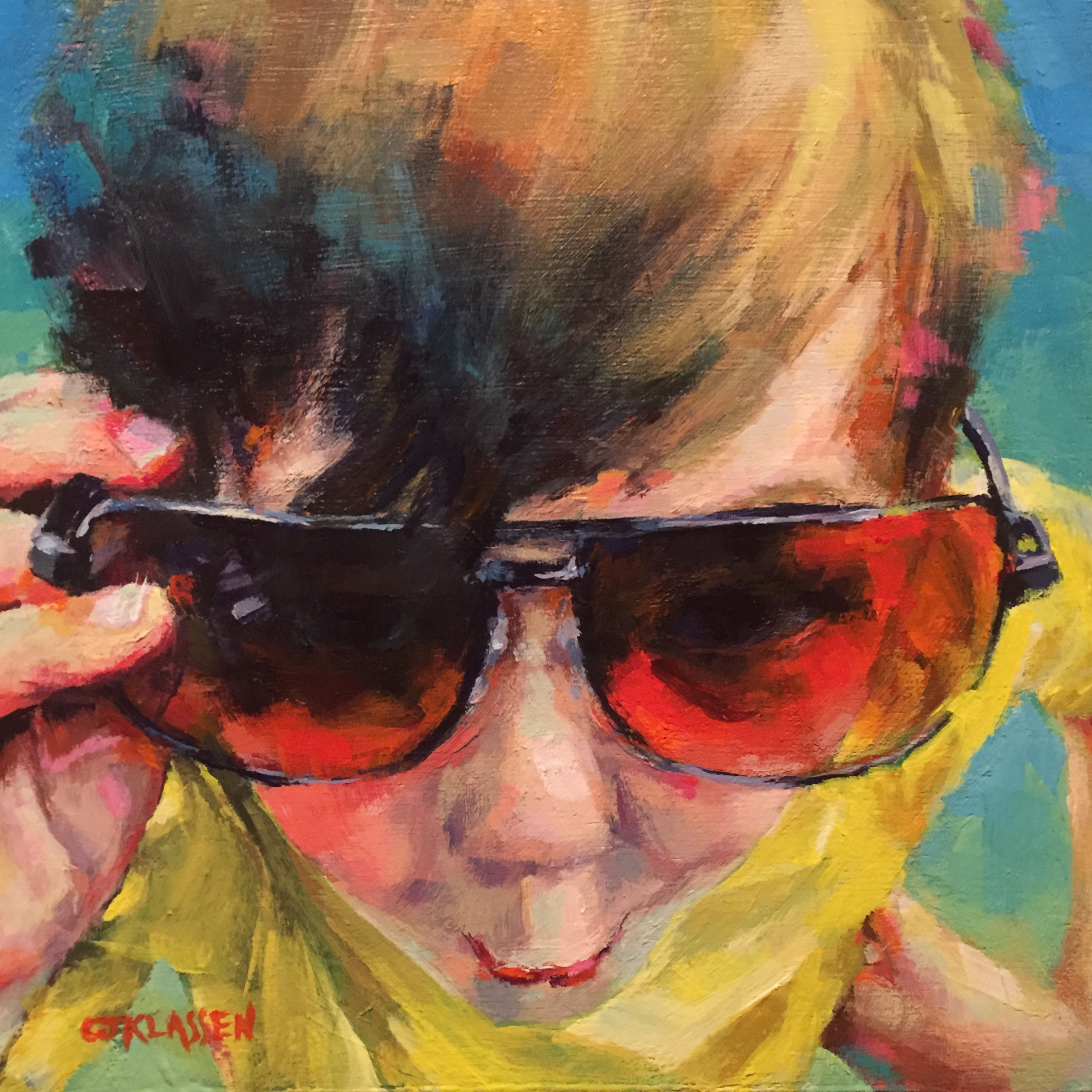 young boy in cool sunglasses