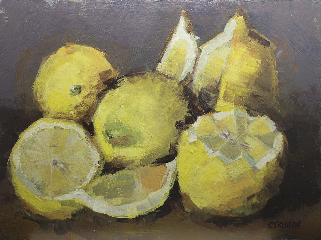 a still life of lemons arranged in tribute to Frida Kahlo's Melon painting