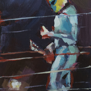 a luchador with a ukulele in the wrestling ring