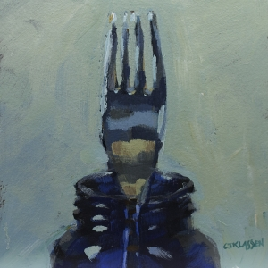 still life of fork in a blue bottle