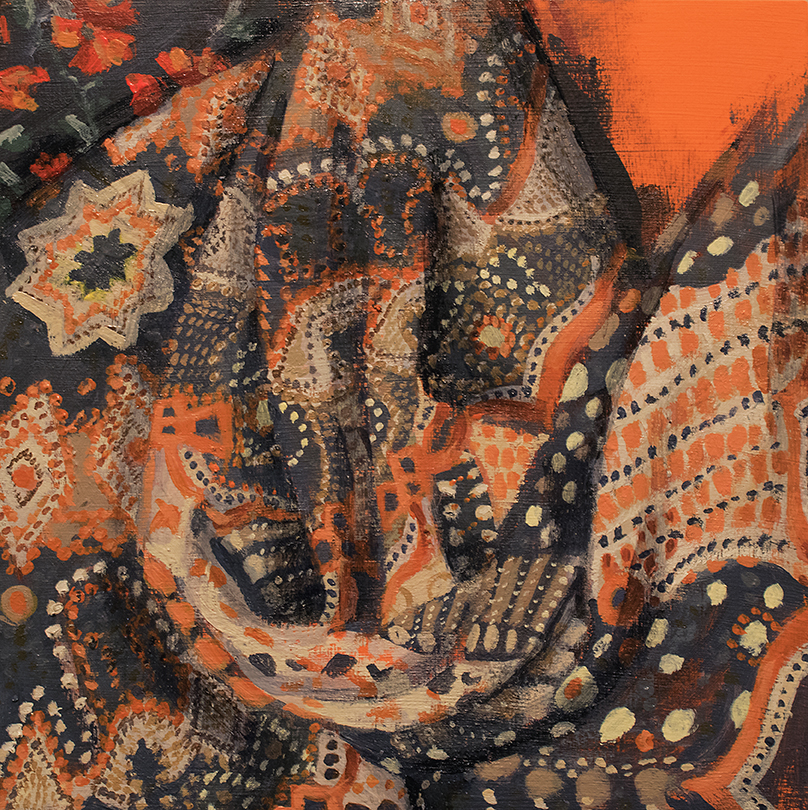 study of draped patterned fabric